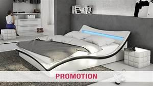 Lit similicuir avec eclairage led et sommier beonis for Chambre design avec sommier et matelas 120x200
