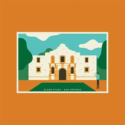 Antonio San Alamo Vector Postcard Plaza Clipart