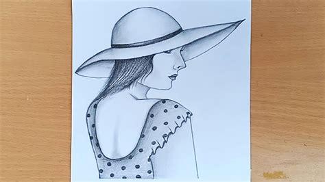 draw  girl   hat step  step pencil sketch