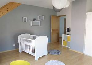 Chambre Bebe Jaune : chambre b b gar on jaune gris ~ Nature-et-papiers.com Idées de Décoration