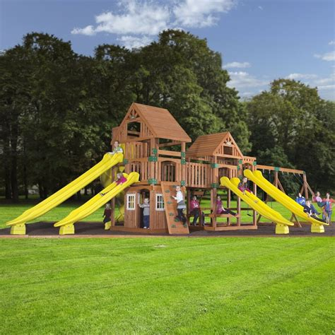 Backyard Play Set - wooden swing set kit outdoor playset safari backyard