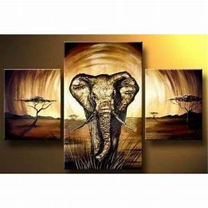 The gallery for gt african elephant painting for Elephant wall art