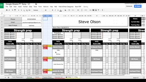 google sheets personal training templates exercise