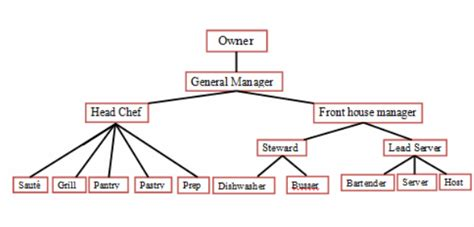 organizational chart job description cl255 food and beverage operations management