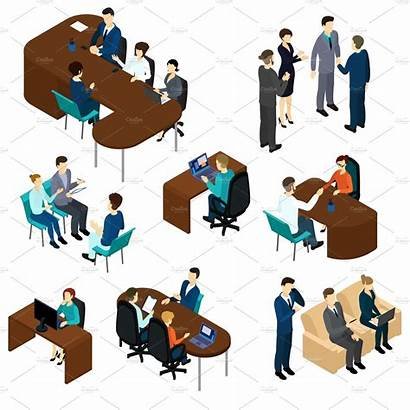 Recruitment Isometric Process Illustration Vector Business Icons