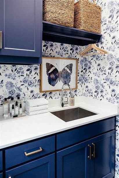 Laundry Cabinets Navy Rooms Painted Paper Farmhouse
