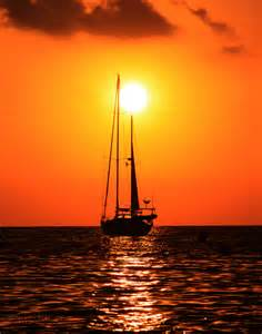 Sailboat Sailing at Sunset
