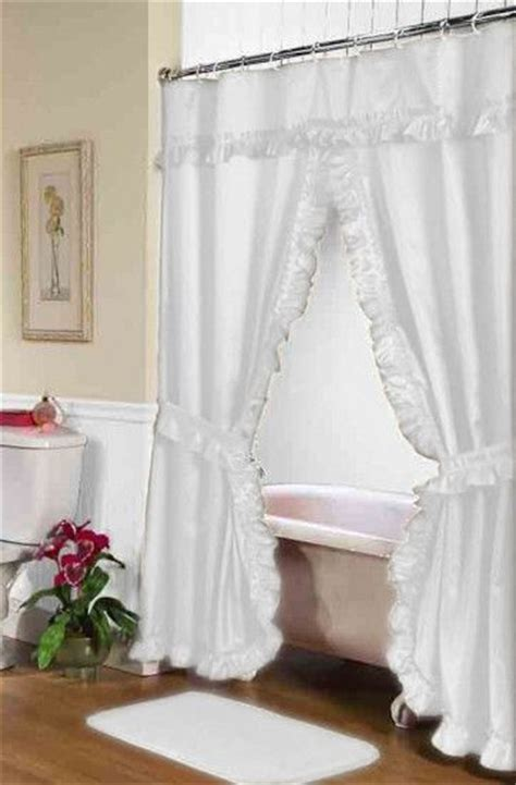 ruffled double swag shower curtain  valance tie