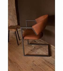 Chaise design industriel loft cuir et metal marron chic et for Deco cuisine avec chaise design cuir