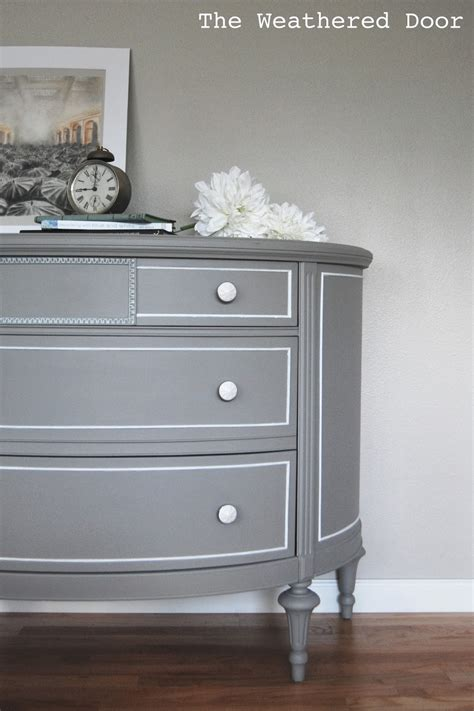 A Grey Demi Lune Dresser With White Accents  The. Pool Supply World. Floor Seating Ideas. Murphy Bef. Pedestal Stool. Light Sconces For Living Room. Office Chair. Grey Wash Wood Floors. Mega Granite