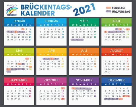 Dazu gedenktage, ruhetage, religiöse feste, nationalfeiertag, ferien sowie landesweite und regionale bräuche. Brückentage Feiertage 2021 Bw / Bruckentage 2021 Clevere Urlaubsplanung So Holen Sie Am Meisten ...