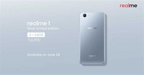 oppo realme 1 gets limited edition moonlight silver color variant versus by compareraja