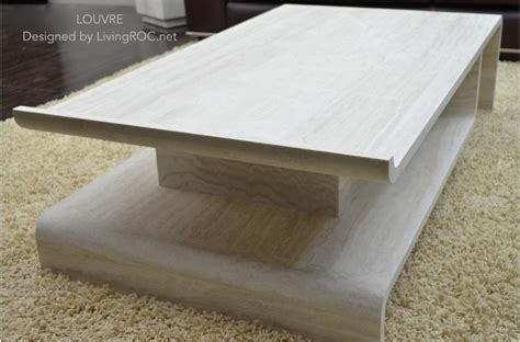 "51"" Rectangular Marble Coffee Table And Travertine Origami"
