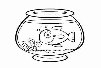 Fish Bowl Coloring Drawing Clipart Pages Printable