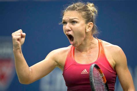 Simona Halep with a sublime drop shot against Agnieszka Radwanska | Daily Mail Online