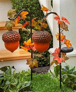 Decorative, Acorn, Garden, Stakes, Fall, Decor, With, Solar, Lighting, -, Set, Of, 2, -, Walmart, Com