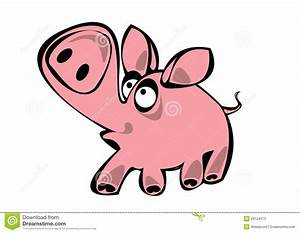 Cartoon Pink Pig Isolated On White Stock Photos - Image ...