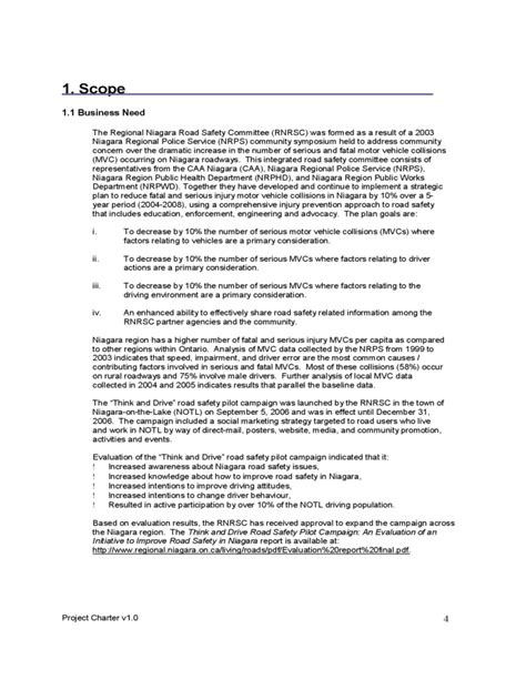 project charter sample template