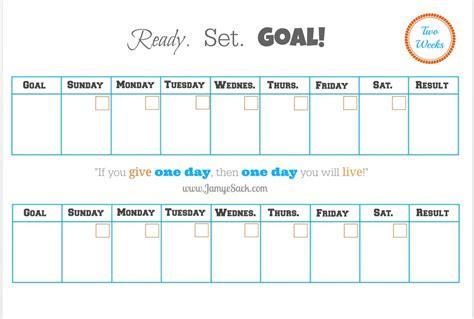 Goal Setting Calendar Template by Free Printable Two Week Goal Calendar Jamye Sack