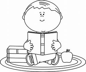 Black and White Boy Reading a School Book Clip Art - Black ...