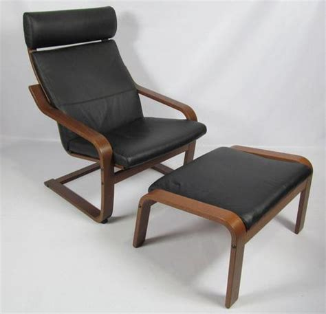 ikea poang chair cushion leather ikea poang black leather brown chair and foot rest