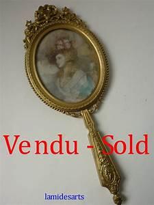 Miroir à Main : miroir a main en bronze dore avec miniature sur ivoire 1880 1900 ~ Teatrodelosmanantiales.com Idées de Décoration