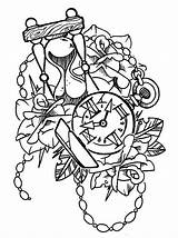 Tattoo Hourglass Clock Trace Drawing Tattoos Pocket Roses Traditional Flowers Getdrawings Designs Flash Deviantart Drawn sketch template
