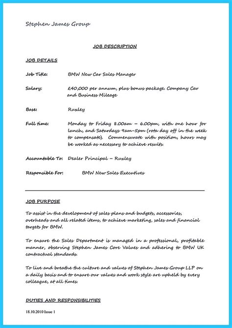 Car Salesman Resume Exle by Car Salesman Resume Cover Letter Resume Template Sales
