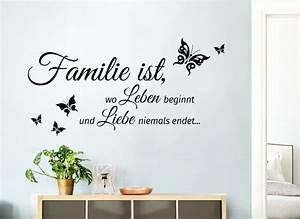 Wandtattoo Sprüche Familie : wandtattoo familie ist wo leben beginnt und liebe niemals endet 80 x 40 cm w5548 spr che ~ Frokenaadalensverden.com Haus und Dekorationen