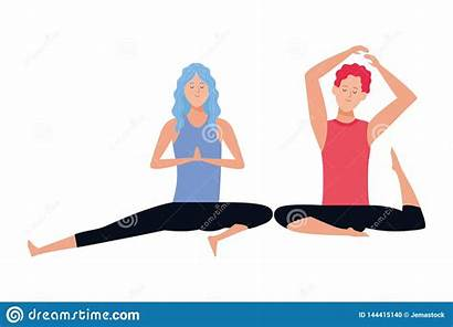 Yoga Poses Couple Concentration