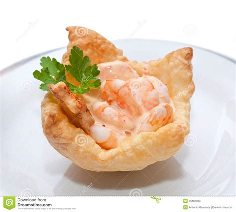puff pastry canape ideas shrimp cocktail in the puff pastry stock photo image