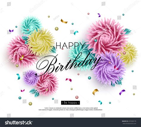 Birthday Card Background 3d by Happy Birthday You Background 3d Flowers Stock Vector
