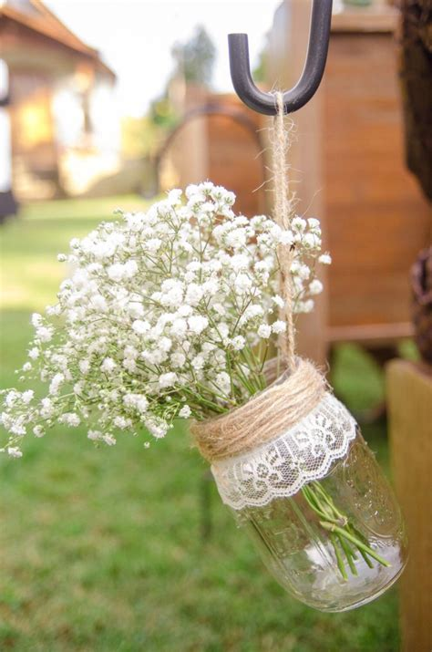 i this jar flower vase for wedding decor looks lovely with twine lace and baby s - Wedding Decoration Flower Vase