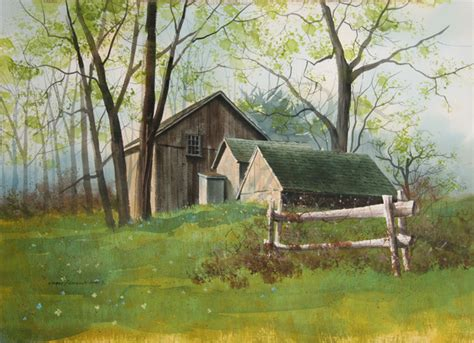 james feriola spring farm watercolor painting  black