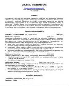 maintenance supervisor resume sle 28 images doc 618800