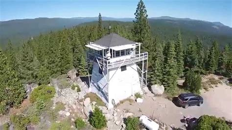 Overhead site flight, Calpine Fire lookout - YouTube