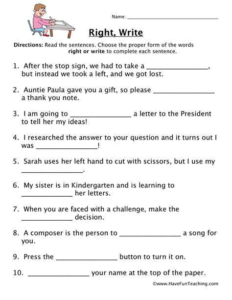 homophone worksheet right write