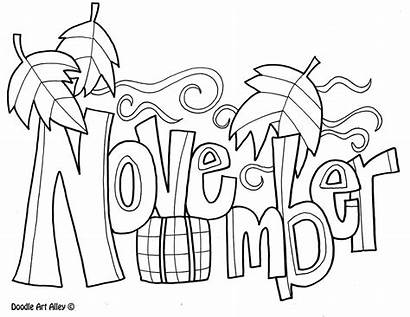 Classroom Month Doodles Coloring Fun November Printables