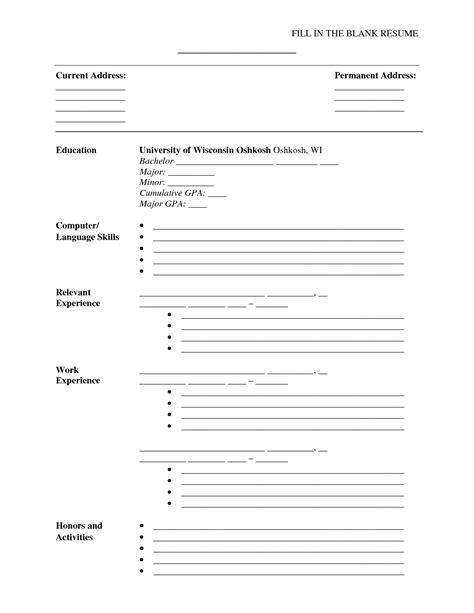 Form Resume by Blank Resume Just Fill Information Resume Cover Letter Exle
