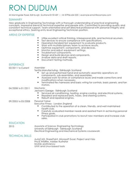 Engineer Tech Resume by Engineering Technician Cv Exle For Engineering Livecareer