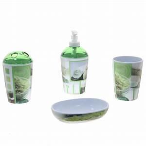 4 accessoires de salle de bain zen vert With accessoire salle de bain zen