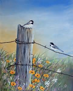 Birds On Fence Post Paintings