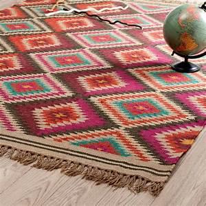 tapis tresse en laine multicolore 140 x 200 cm acapulco With tapis laine multicolore