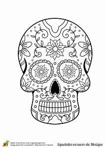 Tete De Mort Mexicaine Dessin : coloriage squelette sucre fleurs et feuilles sur ~ Melissatoandfro.com Idées de Décoration