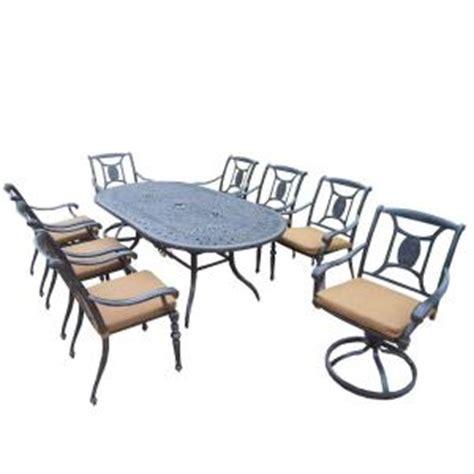 oakland living cast aluminum 9 piece oval patio dining set