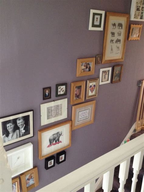 picture wall stairway mauve farrow  ball brassica
