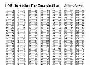 Embroidery Floss Conversion Chart Anchor To Dmc Use This Embroidery Color Conversion Charts To Find