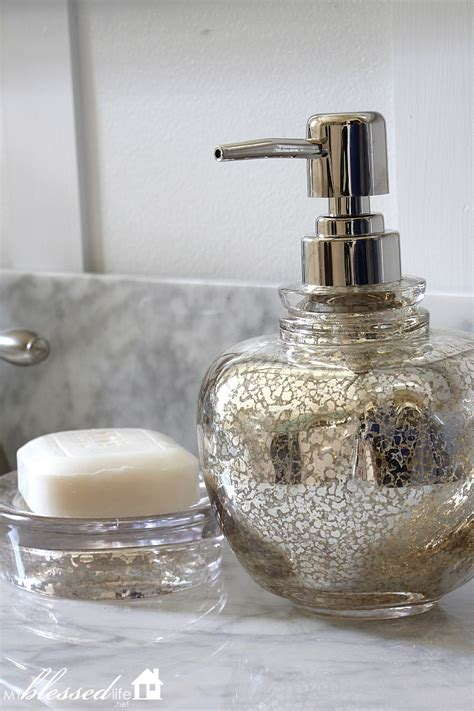Blue Mercury Glass Bath Accessories by Beautiful Cottage Style Bathroom Makeover
