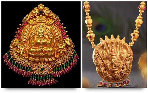temple jewelry goddess lakshmi pendant and lord krishna necklace is gold temple