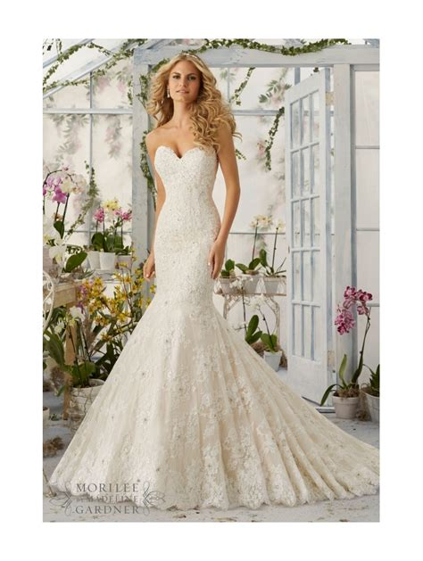 Mori Lee 2820 Strapless Lace Mermaid Wedding Dress Ivory